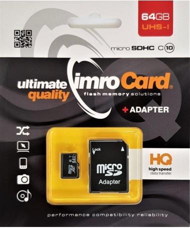 Kartelë memorike IMRO 10/64G UHS-I ADP (64GB/ Class 10/ Class U1/ + shëndrrues)