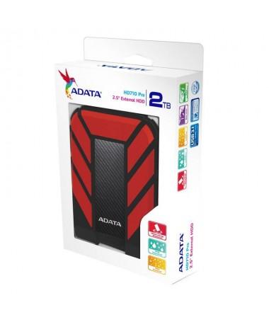 Disk i jashtëm HDD ADATA HD710 AHD710P-2TU31-CRD (2 TB, 2.5 Inch, USB 3.1, 8 MB, 5400 rpm, e kuqe)