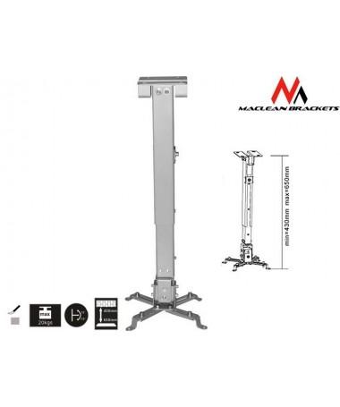 Mbajtës projektori Maclean MC-581 (për tavan/ 430 mm - 656 mm/ 20 kg / e hirtë)