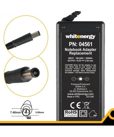 WHITENERGY FURNIZUES 18.5V/3.5A 65W stick 7.4x5.0+pin