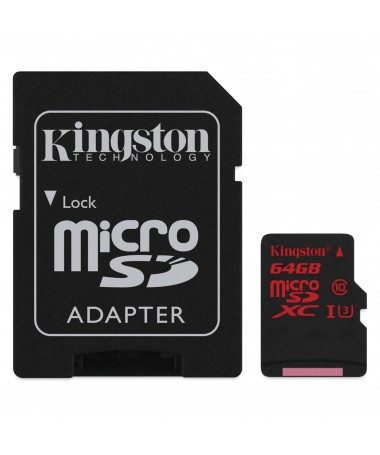 Kartelë memorike SD me adapter Kingston CANVAS SDCR/64GB (64GB/ Class 3/ Adapter)