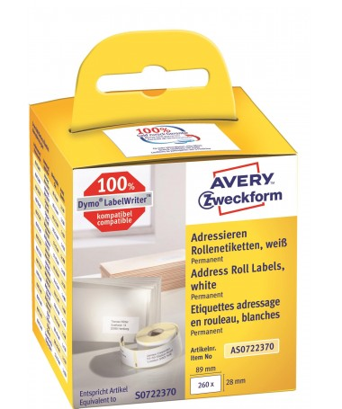 AVERY ZWECKFORM ROLL LABELS AS0722370
