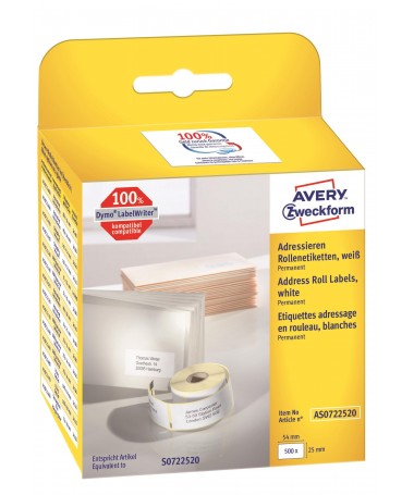 AVERY ZWECKFORM ROLL LABELS AS0722520