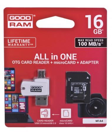 GOODRAM ALL IN ONE microSDHC 16GB Class 10+Czyt.kar